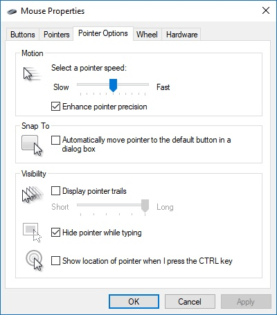 5523e315101 The Pointer Options tab of the Mouse Properties dialog box.