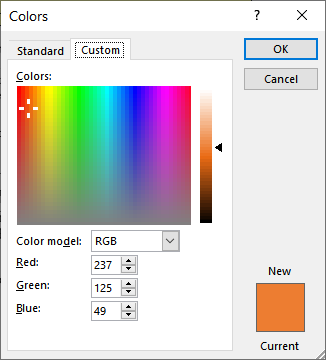 Determining the RGB Value of a Color (Microsoft Excel)
