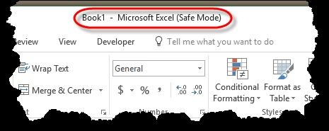 Starting in Safe Mode (Microsoft Excel)