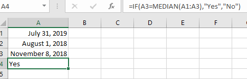 Determining If a Date is between Other Dates (Microsoft Excel)