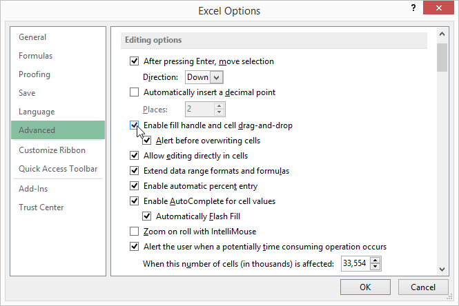turning off autofill microsoft excel