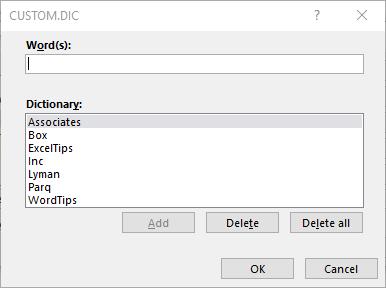 Editing the Custom Spelling Dictionaries (Microsoft Excel)