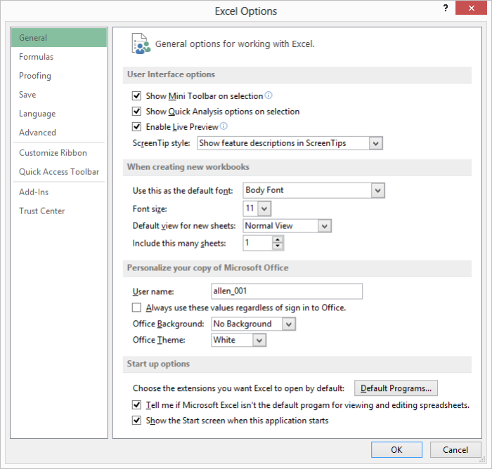 Turning off screentips microsoft excel the general area of the excel options dialog box fandeluxe Image collections