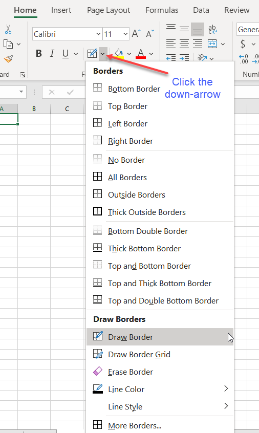 Drawing Borders (Microsoft Excel)