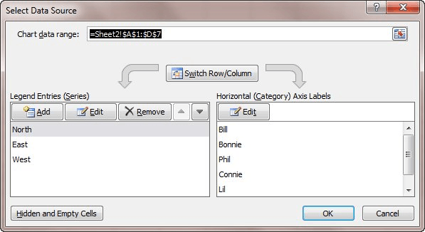 Reordering the display of a data series microsoft excel figure 1 the select data source dialog box ccuart Gallery