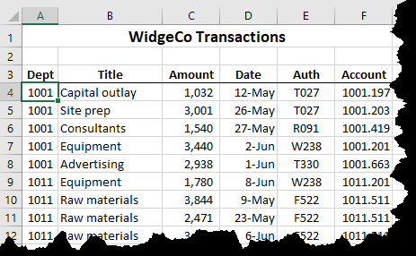 Automatic Lines for Dividing Lists (Microsoft Excel)