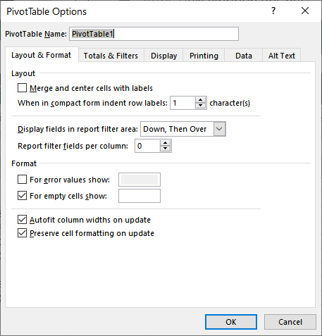 Setting Stable Column Widths in a PivotTable (Microsoft Excel)