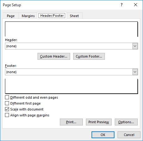 Setting Header/Footer Margins (Microsoft Excel)