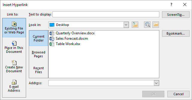 Inserting Hyperlinks (Microsoft Excel)