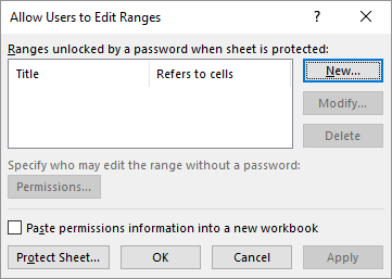 Password protecting specific columns in a worksheet microsoft excel click allow users to edit ranges excel displays the allow users to edit ranges dialog box see figure 3 ibookread