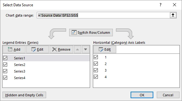 Easily changing chart data ranges microsoft excel right click the chart and choose select source or select data depending on your version of excel excel displays the select data source dialog box ccuart Images