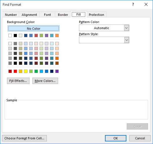 replacing background colors in cells microsoft excel