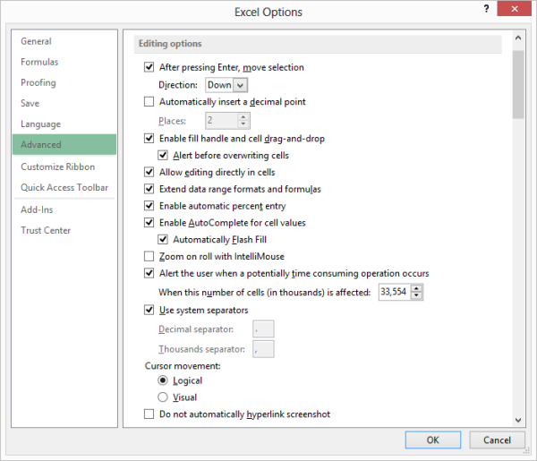Controlling The Behavior Of Mouse Wheel Microsoft Excel. Ure 1 The Advanced Area Of Excel Options Dialog Box. Worksheet. Worksheet Change Event Slow At Clickcart.co
