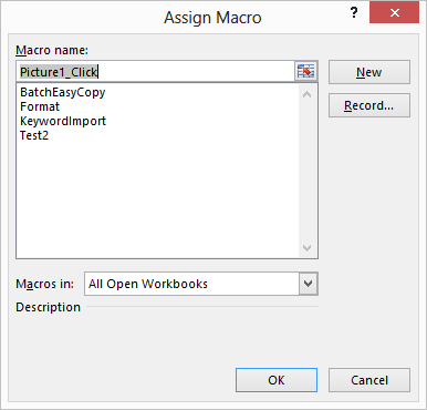 Assigning macros to graphics microsoft excel the assign macro dialog box ccuart Image collections