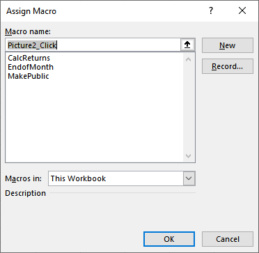 Assigning Macros to Graphics (Microsoft Excel)