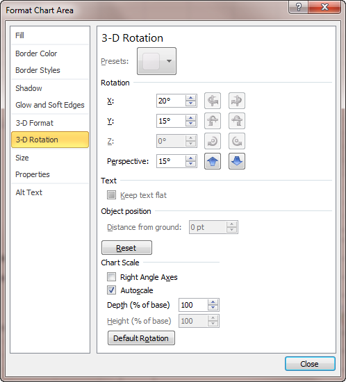 Adjusting your view of 3 d graphs microsoft excel the 3 d rotation options of the format chart area dialog box ccuart Image collections